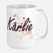 Karlie Artistic Name Design with Hearts Mugs