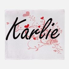 Karlie Artistic Name Design with Hea Throw Blanket