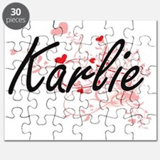 Karlie Artistic Name Design with Hearts Puzzle