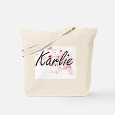 Karlie Artistic Name Design with Hearts Tote Bag