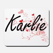 Karlie Artistic Name Design with Hearts Mousepad