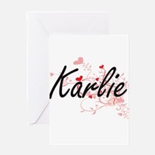 Karlie Artistic Name Design with He Greeting Cards