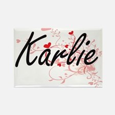 Karlie Artistic Name Design with Hearts Magnets