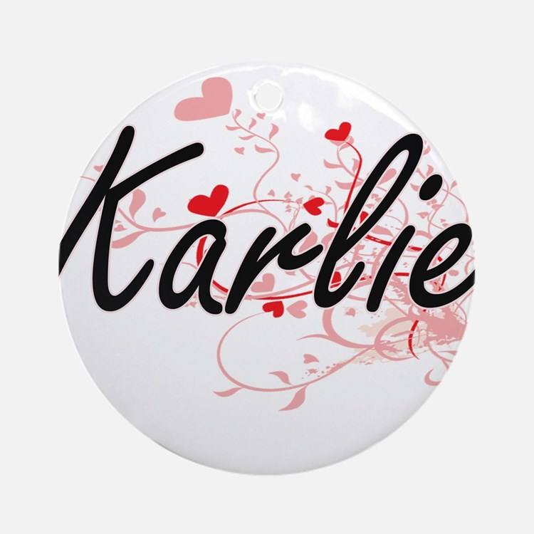 Karlie Artistic Name Design with Ornament (Round)