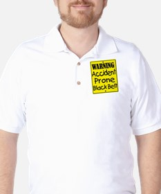 Warning Accident Pron Black Belt T-Shirt
