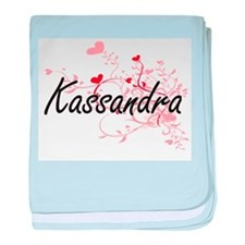 Kassandra Artistic Name Design with H baby blanket