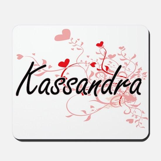 Kassandra Artistic Name Design with Hear Mousepad