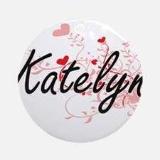 Katelyn Artistic Name Design with Ornament (Round)