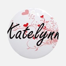 Katelynn Artistic Name Design wit Ornament (Round)