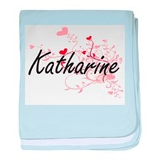 Katharine Artistic Name Design with H baby blanket