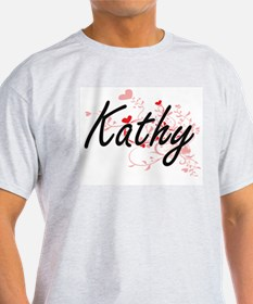 Kathy Artistic Name Design with Hearts T-Shirt