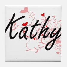 Kathy Artistic Name Design with Heart Tile Coaster