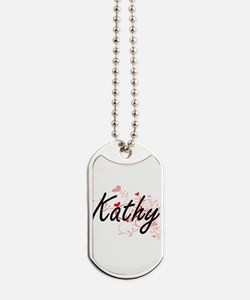 Kathy Artistic Name Design with Hearts Dog Tags