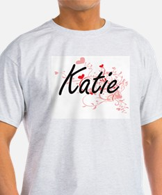 Katie Artistic Name Design with Hearts T-Shirt