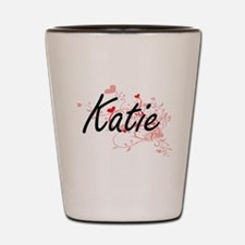 Katie Artistic Name Design with Hearts Shot Glass