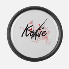 Katie Artistic Name Design with H Large Wall Clock