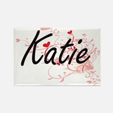 Katie Artistic Name Design with Hearts Magnets