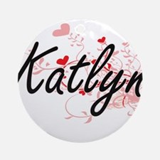 Katlyn Artistic Name Design with Ornament (Round)