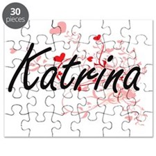 Katrina Artistic Name Design with Hearts Puzzle