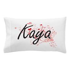 Kaya Artistic Name Design with Hearts Pillow Case