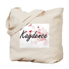 Kaydence Artistic Name Design with Hearts Tote Bag