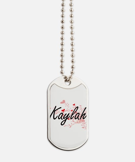 Kaylah Artistic Name Design with Hearts Dog Tags