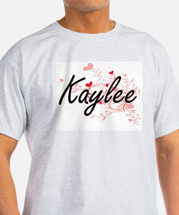 Kaylee Artistic Name Design with Hearts T-Shirt