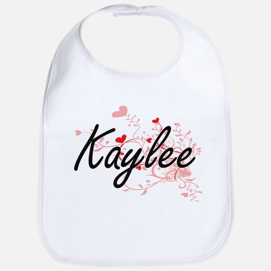 Kaylee Artistic Name Design with Hearts Bib