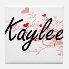 Kaylee Artistic Name Design with Hear Tile Coaster