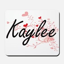 Kaylee Artistic Name Design with Hearts Mousepad