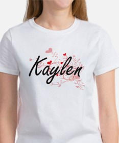 Kaylen Artistic Name Design with Hearts T-Shirt