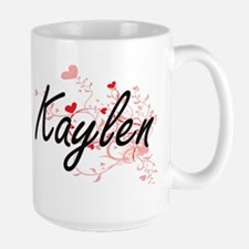 Kaylen Artistic Name Design with Hearts Mugs