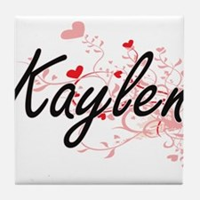 Kaylen Artistic Name Design with Hear Tile Coaster