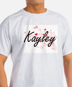 Kayley Artistic Name Design with Hearts T-Shirt