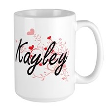 Kayley Artistic Name Design with Hearts Mugs