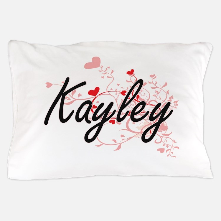 Kayley Artistic Name Design with Heart Pillow Case
