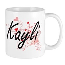 Kayli Artistic Name Design with Hearts Mug
