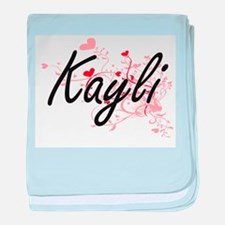 Kayli Artistic Name Design with Heart baby blanket