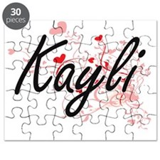 Kayli Artistic Name Design with Hearts Puzzle