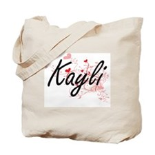 Kayli Artistic Name Design with Hearts Tote Bag