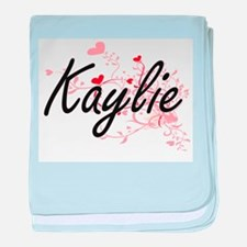 Kaylie Artistic Name Design with Hear baby blanket