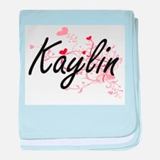 Kaylin Artistic Name Design with Hear baby blanket