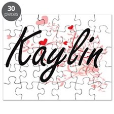 Kaylin Artistic Name Design with Hearts Puzzle
