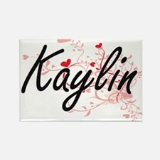 Kaylin Artistic Name Design with Hearts Magnets