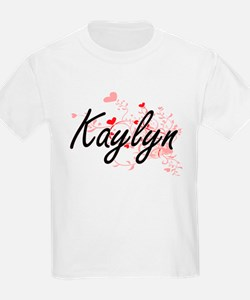 Kaylyn Artistic Name Design with Hearts T-Shirt