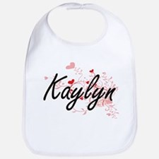 Kaylyn Artistic Name Design with Hearts Bib
