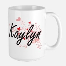 Kaylyn Artistic Name Design with Hearts Mugs