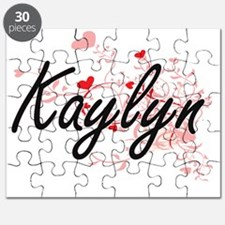 Kaylyn Artistic Name Design with Hearts Puzzle
