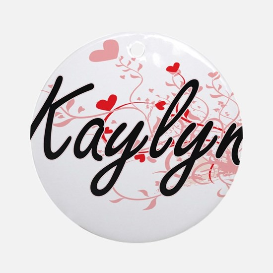 Kaylyn Artistic Name Design with Ornament (Round)