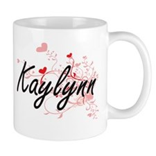 Kaylynn Artistic Name Design with Hearts Mugs